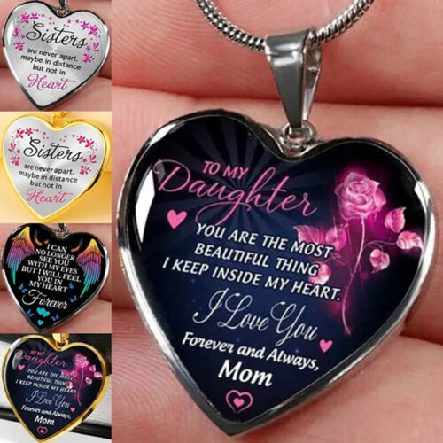 Jewellery - To My Daughter Sister Heart Shape Pendant Necklace Gold Silver Jewelry Love Gift