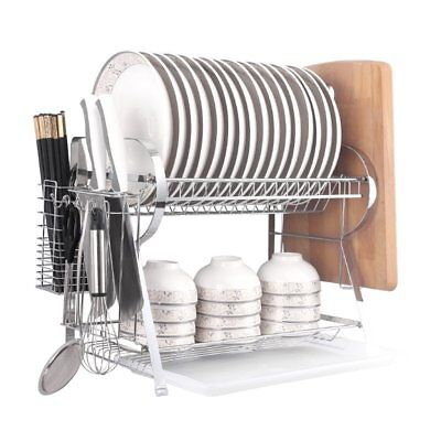 2 Tier Dish Drainer Drying Rack with Cutting Board Holder Chrome Large Capacity