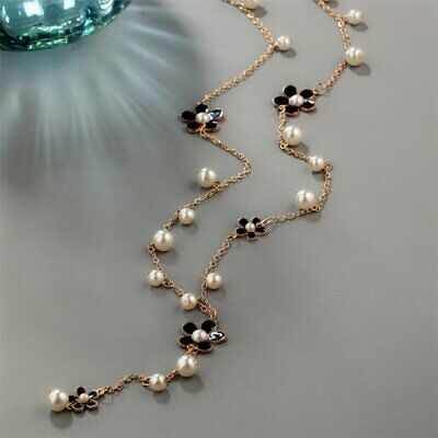 Fashion Leaf Pearl Crystal Flower Pendant Long Sweater Necklace Chain Women Gift