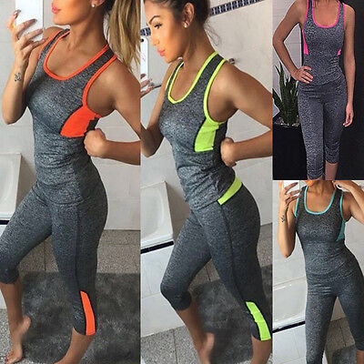 Femmes Yoga Leggings de Jogging Gilet Fitness Haut Gym Vêtements Sport Vêtement
