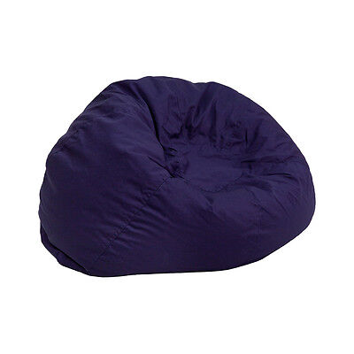 Small Kids Comfy Bean Bag Chair in Solid Navy Blue Cotton Fabric Cotton Comfy Bean Bag