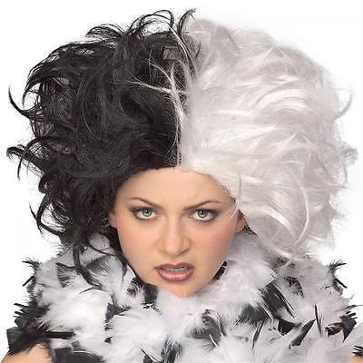 Cruella De Vil Perücke Schwarz & Weiß Erwachsene - Cruella Deville Perücken