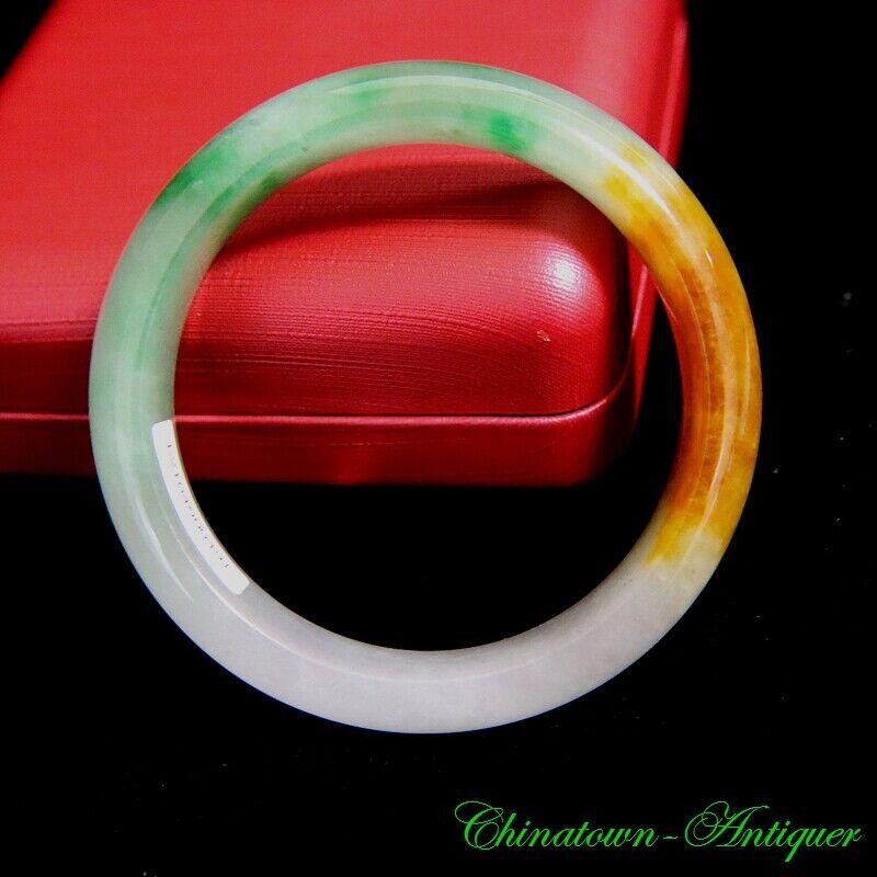 Certified Grade B Myanmar Ice Waxy Floating Green Jadeite Bracelet Bangle #3091