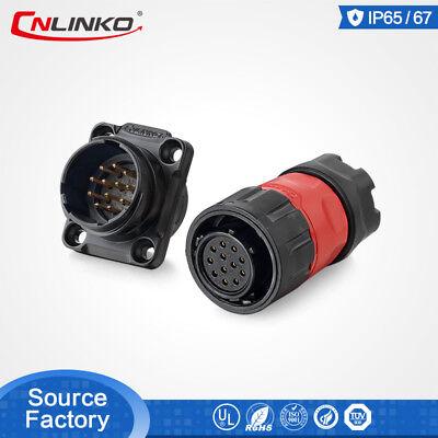 Cnlinko 12 Pin Waterproof Connector Solder Male Female Plug Panel Mount Socket
