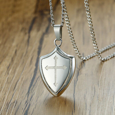 Men Necklace Pendant Shield of Faith Engraved Joshua 1:9b Armor Jesus Cross Gift
