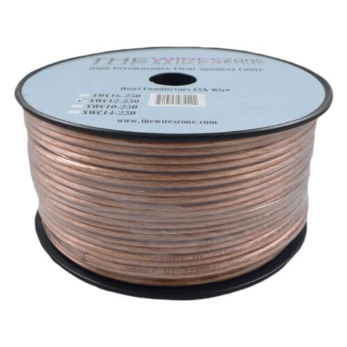 Car Home Audio Speaker Wire Transparent Clear Cable 12AWG 250ft 12/2 ...