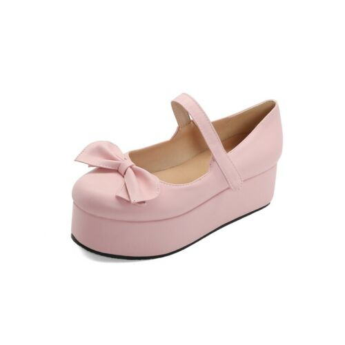 Details about  /Womens Girls Lolita Block Heel Bowknot Mary Janes Shoes Cosplay Pumps 44//45//46