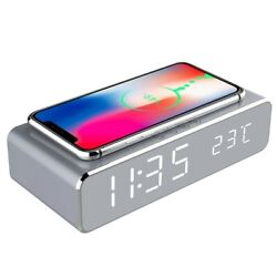 LED Electric Alarm Clock W/Wireless Phone Charger Digital Thermometer HD Clock