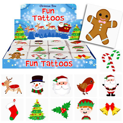 12 - 144 Christmas Xmas Kids Pretend Transfers Tattoos Stocking Fillers Santa - Kids Christmas Tattoos