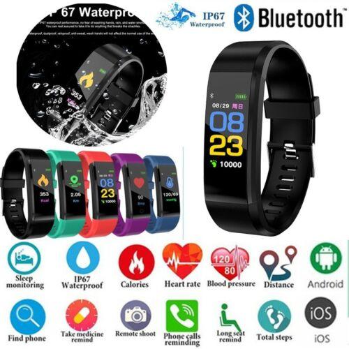 Fitnessarmband Herzfrequenzmesser Tracker Bluetooth Smartwatch Schrittzähler B
