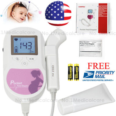 FDA US Prenatal Fetal Doppler Baby Heart Beat Monitor, 3mhz probe+gel, Batteries