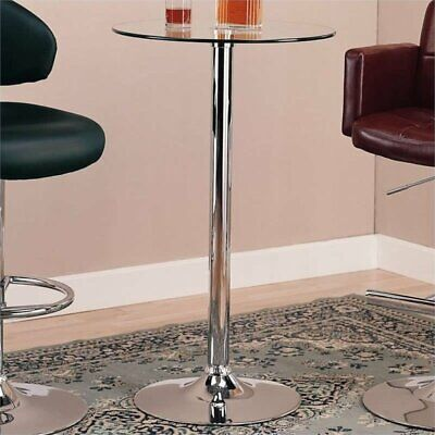 Bowery Hill Round Glass Top Bar Table with Chrome Base ()