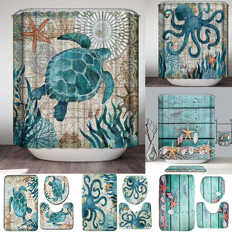 Ocean Bathroom Set Nonslip Pedestal Rug