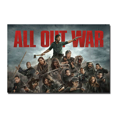 The Walking Dead All Out War Season 8 Premiere Silk Canvas Poster 13x20 24x36''