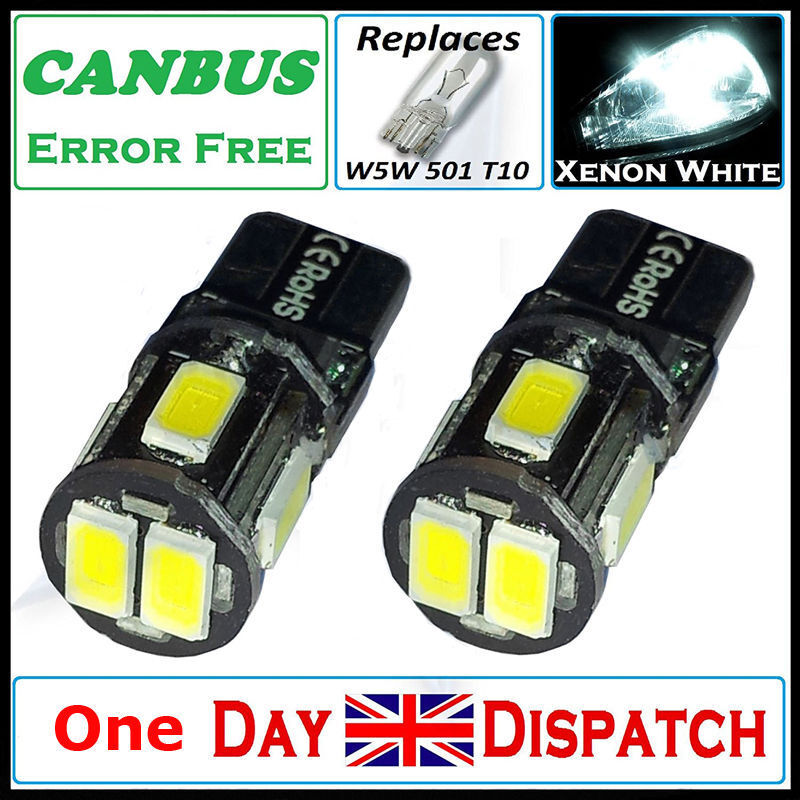 Car Parts - T10 CAR BULBS LED ERROR FREE CANBUS 6 SMD XENON WHITE W5W 501 SIDE LIGHT BULB