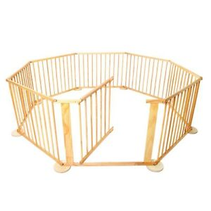 Baby Wood Octagonal 8 Panel Playpen with Gate Natural Newton Campbelltown Area Preview