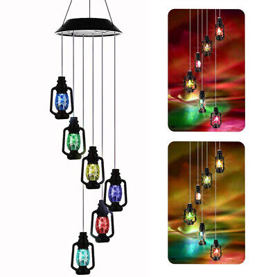 Retro Solar Powered Wind Chimes LED Light Color Changing Outdoor Garden Decor US ()