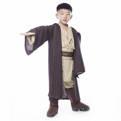 Star Wars Cosplay Costume Jedi Obi Wan Kenobi Halloween Kids Suit Outfit Uniform