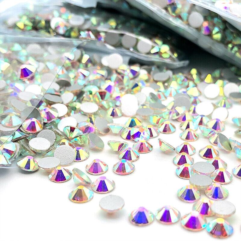 10packs 1440pcs Glitter Crystal Ab Nail Art Rhinestone Flatback Glass Gems Stone
