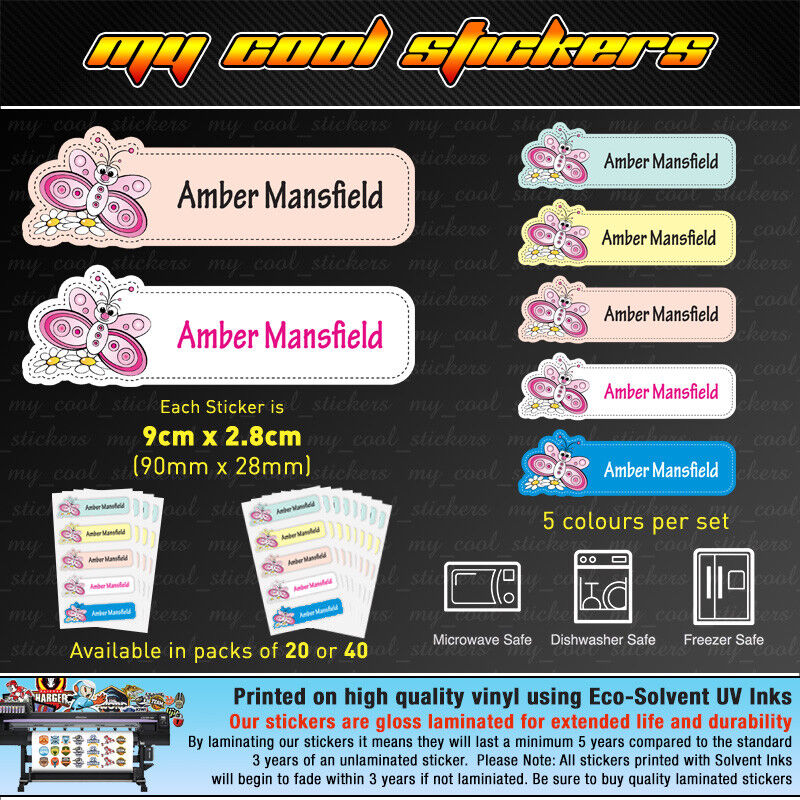Large Personalised Kids Name Labels for Girls, stickers, sch