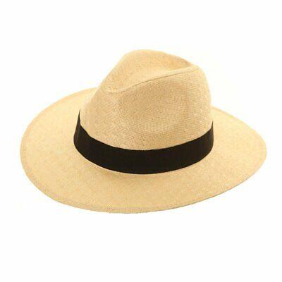 Fedora With Black Band (Unisex Natural Straw Fedora Hat with Black Band. 2 sizes - FAST)