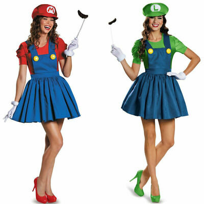 Mario Costume Woman (Women's Ladies Mario and Luigi Skirt Version Mini Sexy Dress Adult)