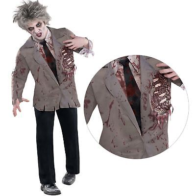 Erwachsene Herren Blutig Geschlagen Zombie Hemd Halloween Kostüm Wandern - Zombie Wanderer Kostüm