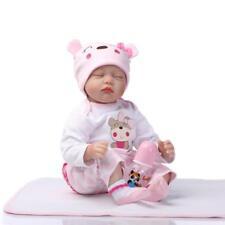 "22""/55cm Baby Girl Doll Handmade Lifelike Silicone Realistic Reborn Doll Pink"