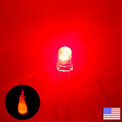 20pcs 3mm Red Candle Flicker Bright Flickering Led Light -20x - Fast Us Shipping