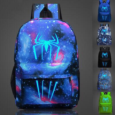 Marvel Avengers Spiderman Kids School Backpack Night Luminous Book Bag Printed