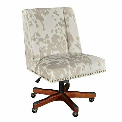 Riverbay Furniture Linen Cow Print Office Chair