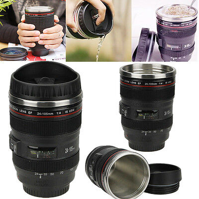 Quality best gift 24-105mm Stainless Lens Camera Travel Coffee Tea Mug Cup