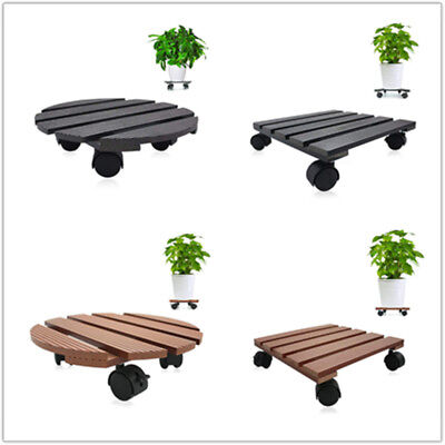 """Wood Plant Dolly Stand 12"""" Rolling 4 Wheels Heavy Duty Caddy Holder Patio Pot"""