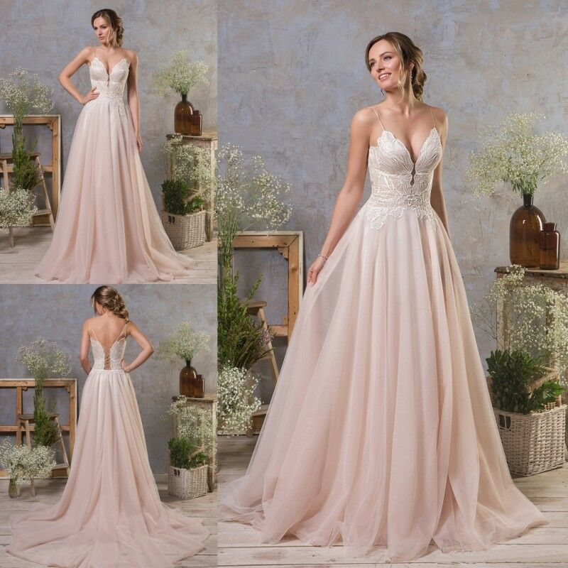 Details about Blush Pink Wedding Dresses Spaghetti Straps V Neck Petite  Plus Size Bridal Gowns