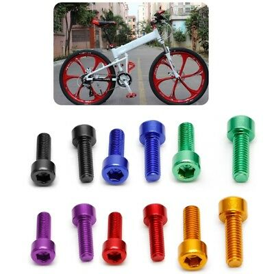 2Pcs Bike Water Bottle Cage Bolts Aluminium Alloy Hex Tapping M5*15MM Screws ()