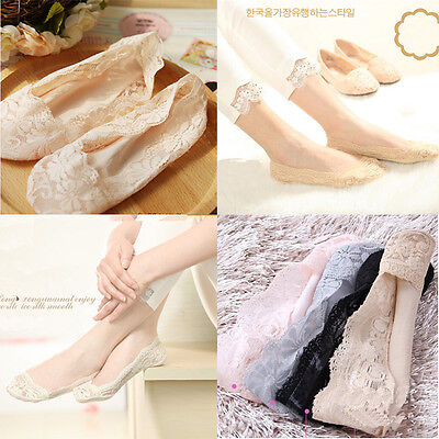 Cozy Korean Womens Elastic Cotton Lace Antiskid Invisible Low Cut Socks Good