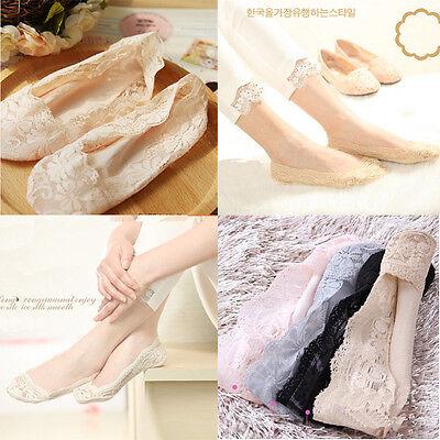 Cozy Korean Womens Elastic Cotton Lace Antiskid Invisible Low Cut Socks Good