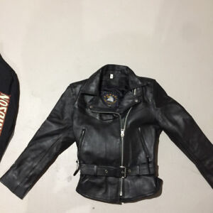 Ladies leather heavy weight motorcycle jacket