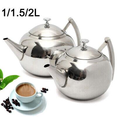 1L-2L Teekanne Edelstahl mit Abnehmbare Siebeinsatz Kaffeekanne