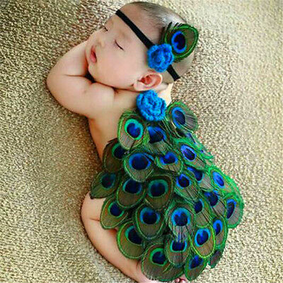 FD3728 Newborn Baby Peacock Crochet Knit Costume Photo Photography Prop Outfits♫