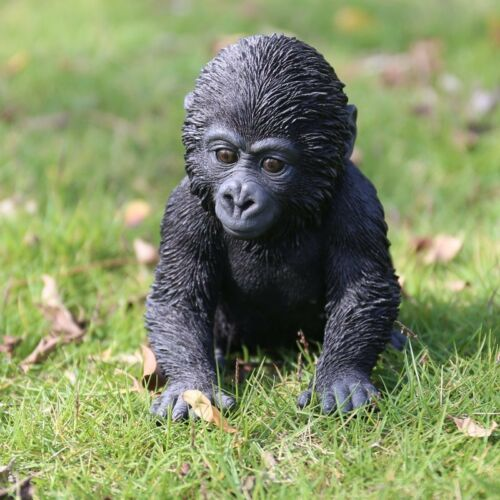 NEW Gorilla Baby Sitting Figurine - Life Like Figurine Statue Home / Garden