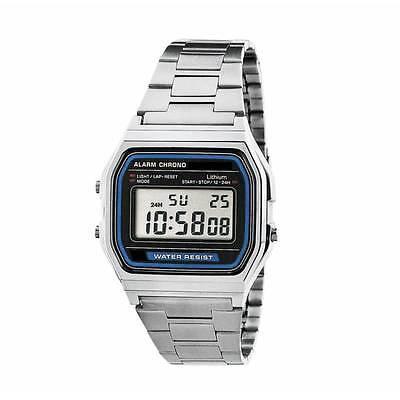 Retro Digitaluhr Armbanduhr Digital Herren Damen Uhr NEU silber