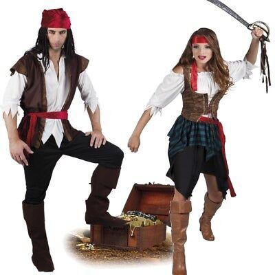 Dame Pirat Kostüme (PIRATIN PIRAT Damen und Herren Seeräuber Partner Kostüm komplettes Piratenkostüm)
