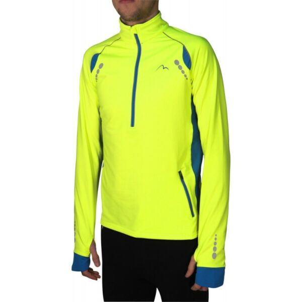 More Mile Mens Alaska Thermal Running Top - Neon Yellow & Blue (Size XL) (Brand New With Tags)