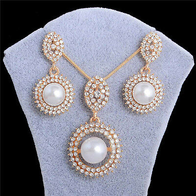 18k Gold Plated White Pearl Pendant Chain/Necklace/Earrings Jewelry Set 18k Pearl Jewelry Set