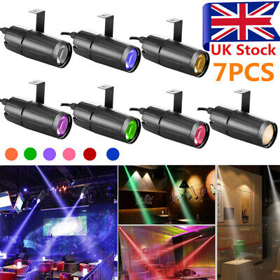 7PCS LED Beam Stage Lighting Spot Spin Disco Show Club DJ Party Pinspot Light UK