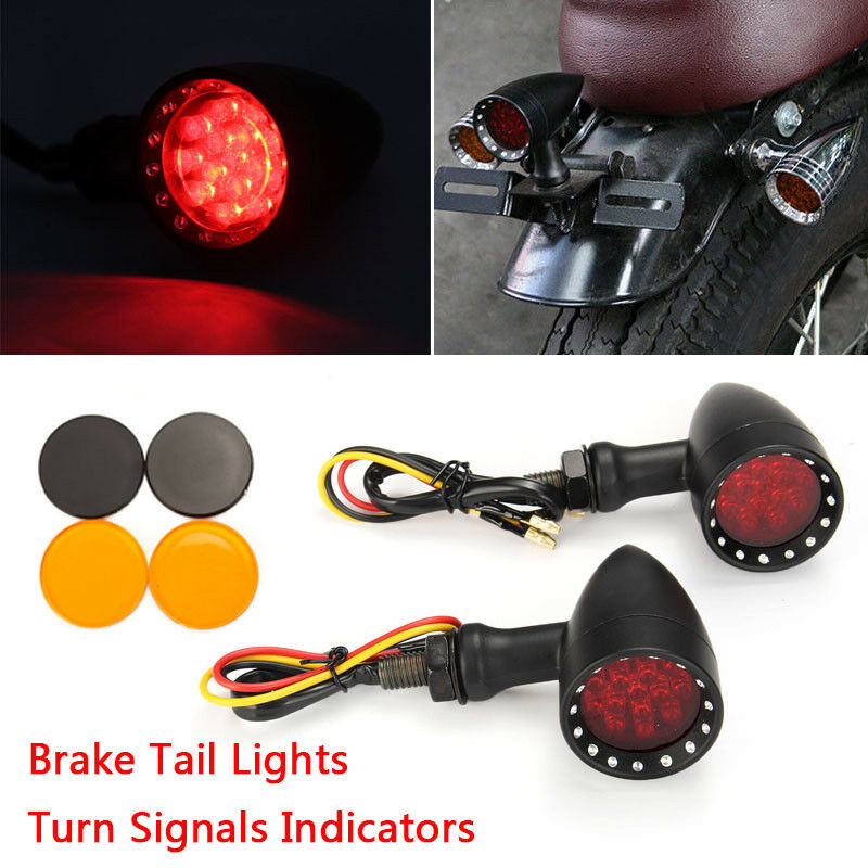 For Bobber Cafe Motorcycle LED Black Bullet Brake Running Turn Signal Tail Light