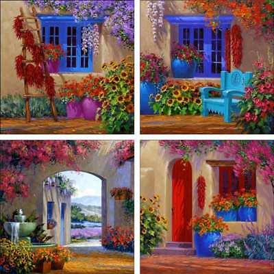 Accent & Decor Tile Set Ceramic Senkarik Courtyard Floral Art MSA-ATSet7 Set Ceramic Tile