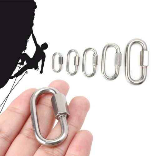 Stainless Brace Lock Screw Climbing Gear Carabiner Quick Links Safety Snap Hook
