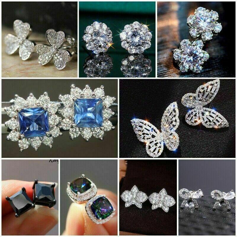 Elegant 925 Silver Fine Jewelry Stud Earrings for Women White Sapphire Wedding